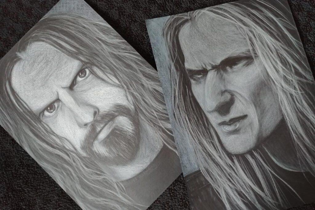 portret kredki akwarelowe rysunek